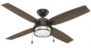 Hunter Indoor Outdoor Ceiling Fan with LED Light and Pull Chain