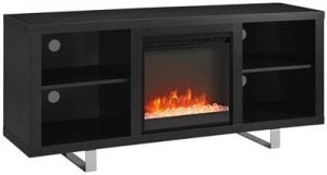New 58-Inch Wide Black Fireplace Television Stand with Glass Doors