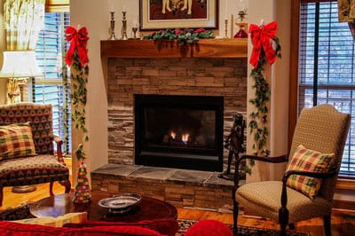 electric fireplace warms the home
