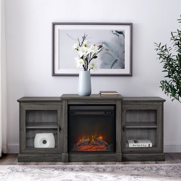 Manor Park Slate Grey Tiered Fireplace TV Stand