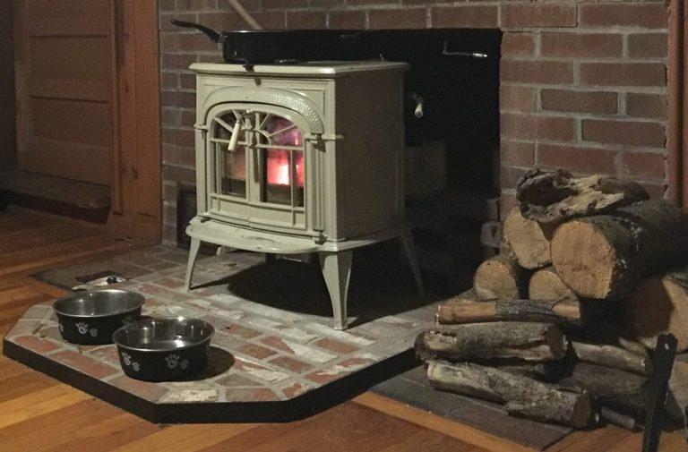 stove burning at night